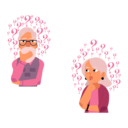 Vector flat old caucasian elderly grey-haired woman, man in casual clothing standing in thoughtful pose holding chin thinking with questions above head portrait. Isolated background illustration