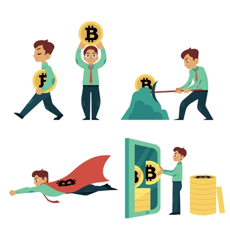 Vector flat bitcoin concept. Male character, happy businessman in suit taking coins laptop, man running, raising up bitcoin, flying in superman cape, smashing ground minig coins. Isolated illustration