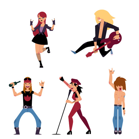 Set of young rock musicians - singer, band leader, guitarist, cartoon vector illustration isolated on white background. Set of cartoon rock band participant, singer, bandleader, guitarist characters