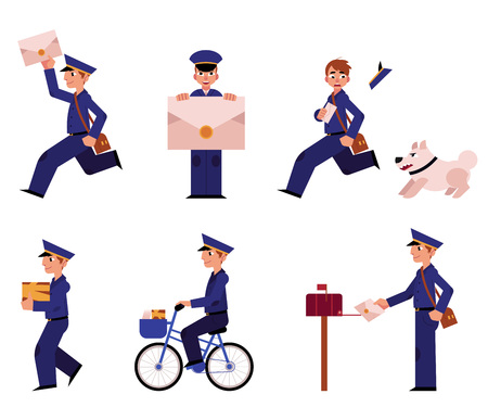 Cartoon postman cheerful character set. Delivery service worker, mailman standing running bicycling smiling holding letter. Man in professional blue uniform peaked cap.. Vector illustration