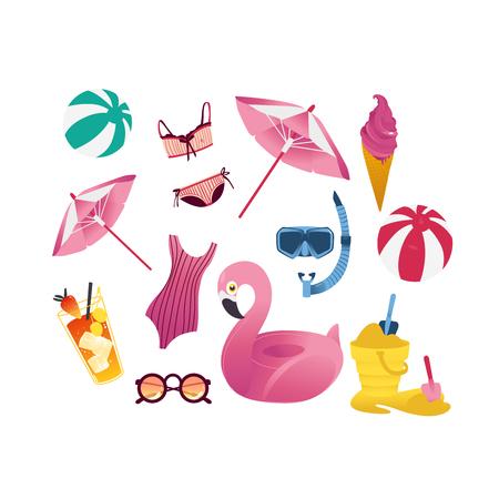 Summer holiday vacation elements set. Cartoon beach pool party objects seaside travel illustration. Vector inflatable ball pink flamingo ring sunglasses cocktail swimsuit sun umbrella snorkel icecream Illustration