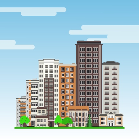 City line with multistorey apartment houses and office buildings with windows and balconies, green trees and lawn on blue sky background in flat style. Colorful cityscape. Vector illustration.