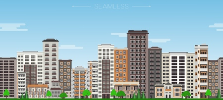 City skyline seamless border pattern with high-rise apartment houses and municipal buildings, green trees on blue sky background with clouds in flat style. Colorful cityscape. Vector illustration. Ilustracja