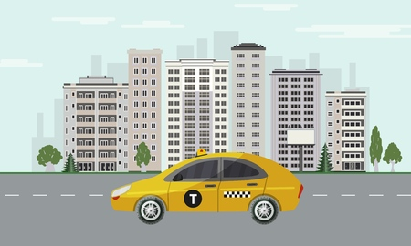 City skyline with yellow taxi car riding on road on cityscape background with skyscrapers, green trees and blue sky with clouds in flat style. Colorful town landscape. Vector illustration. Çizim