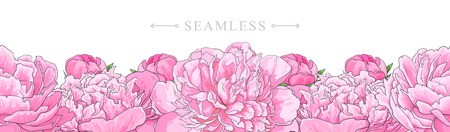 Elegant pink peonies border seamless pattern isolated on white background. Hand drawn gentle blossom flower element for romantic wedding greeting card or invitation. Vector illustration.