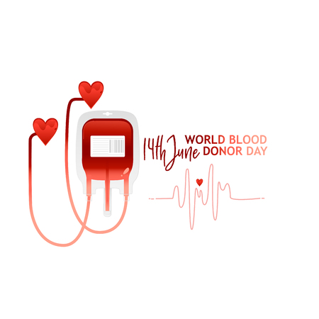 World blood donor day banner with red bloody plastic container and sign. Isolated on white background. Copy space. Flat vector illustration. Calling for a donor donation banner, poster, flyer Illustration