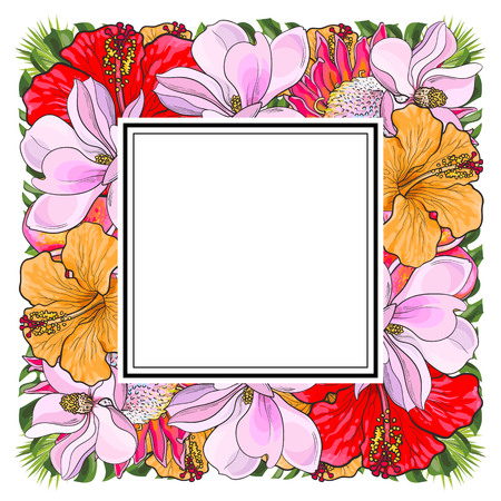 Tropical flowers and palm leaves in floral composition in square form with sticker-copy space on top isolated on white background in sketch style. Hand drawn natural frame. Vector illustration. Vettoriali