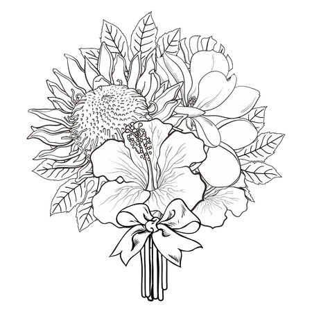 Tropical flowers and palm leaves in bouquet with bow in sketch style isolated on white background. Hand drawn line exotic blooms of hibiscus, protea, magnolia and plumeria. Vector illustration. Vettoriali