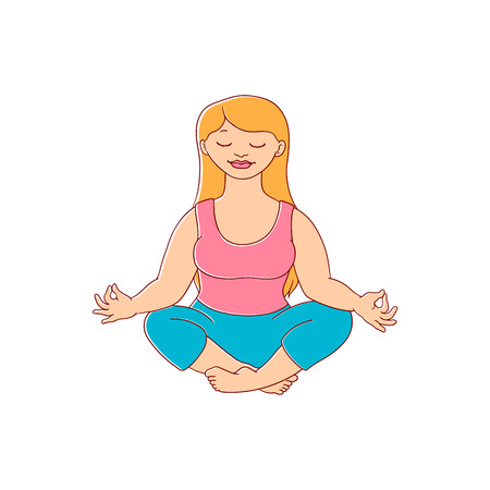 plump obese girl meditate in lotus posture in sport clothing. Sketch style cute female character. Hand drawn adult blonde overweight woman having fun, isolated illustration Standard-Bild - 98630304
