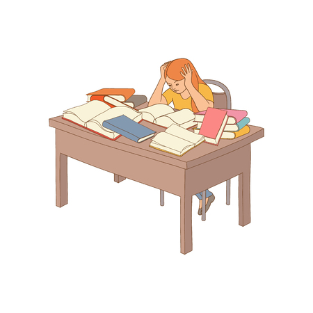 tired angry girl student or worker sitting at table with books pile holding hair. Overwork or studying exams concept. Vector sketch Education and stress concept. Isolated illustration