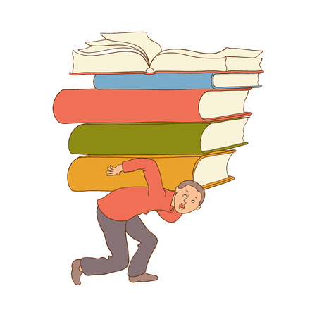 exhausted tired man student or worker running carrying books pile at back. Vector flat Overwork or studying exams concept. Education, work and stress concept. Isolated illustration