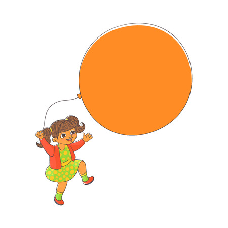 Cute little girl with ponytails playing with big balloon, hand-drawn vector illustration isolated on white background. Happy girl, child, kid playing with balloon, may be used as a place for text