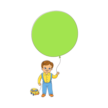 Cute little boy standing with big balloon and toy car, front view hand-drawn vector illustration isolated on white background. Hand-drawn happy boy, child, kid standing with balloon and toy car Illustration