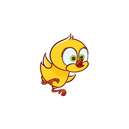 ベクターフラットかわいい赤ちゃんチキン黄色の小さな面白いキャラクターひよこは飛ぶことを学びます。平らな鳥の動物、白い背景に孤立したイ