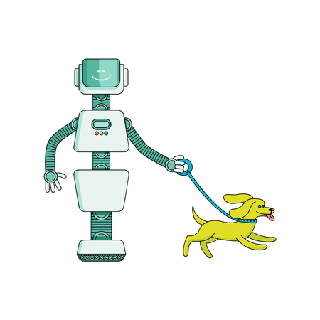 Robot housekeeper walks dog - cartoon character isolated on white background. Futuristic artificial intelligence home assistant helps with watching out for pet. Vector illustration.