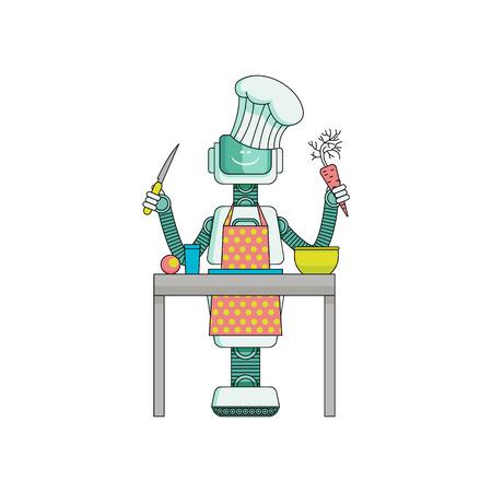 Il cuoco del robot prepara l'alimento in cucina isolata su fondo bianco. Personaggio dei cartoni animati di governante androide in grembiule e cappello da cuoco con coltello e verdure in armi rende la cena. Illustrazione vettoriale Archivio Fotografico - 98631523