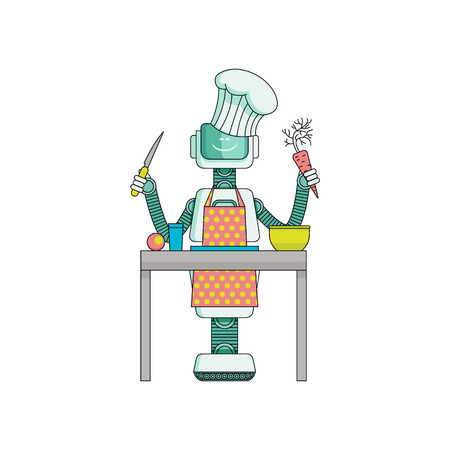 Robot cook prepares food in kitchen isolated on white background. Cartoon character of android housekeeper in apron and chef hat with knife and vegetables in arms makes dinner. Vector illustration. Vettoriali