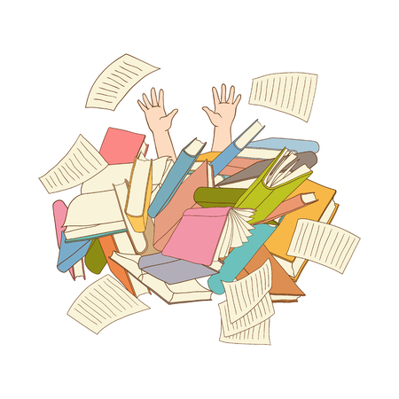 man hands sticking out books pile. Overwork or studying exams concept. Education work and stress concept. Vector sketch hand drawn office Illustration isolated background Vectores