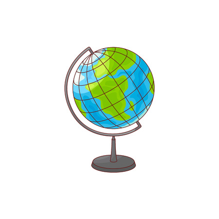World globe map from Africa and Europe side isolated on white background. Colorful hand drawn cartoon element of Earth sphere model - school or university geographic supply. Vector illustration.