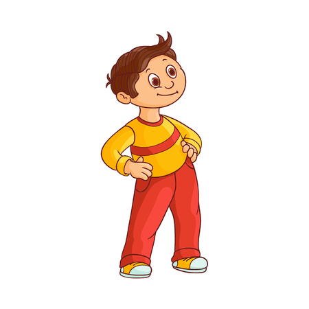 Smiling little boy with brown hair stands with hands on waist and looks forward with curiosity isolated on white background. Hand drawn cute cartoon schoolboy in casual wear. Vector illustration. Иллюстрация