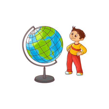 School boy with globe sphere map isolated on white background. Cute hand drawn cartoon little child with brown hair stands and looks with curiosity at Earth sphere model. Vector illustration.