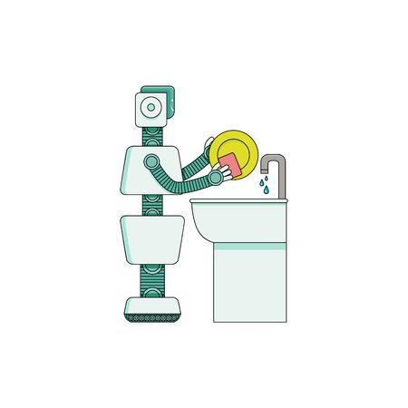 Assistant à domicile robot laver la vaisselle dans le lavabo de la cuisine isolé sur fond blanc. Le personnage de dessin animé de la femme de ménage Android tient une éponge et rend la plaque propre. Illustration vectorielle. Vecteurs
