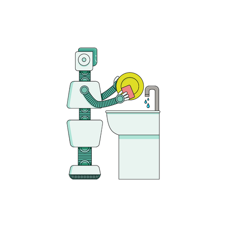 Robot home assistant washing dishes in kitchen washbasin isolated on white background. Cartoon character of android housekeeper holds sponge and makes plate clean. Vector illustration. Ilustração