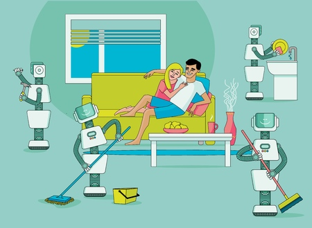 Robots doing housework - washing dishes, cleaning house, driving nails, happy people relax and do nothing, flat vector illustration. Robots free people from housework, artificial intelligence concept Stock Illustratie