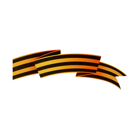 Asymmetric George ribbon, symbol of Russian Victory day with flag cut ends, realistic vector illustration isolated in white background. Georgian Russian Victory day ribbon, asymmetric, horizontal Иллюстрация