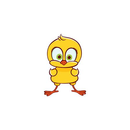 ベクターフラットかわいい赤ちゃんチキン黄色小さな面白い女性キャラクターひよこ立っています。平らな鳥の動物、白い背景に孤立したイラスト