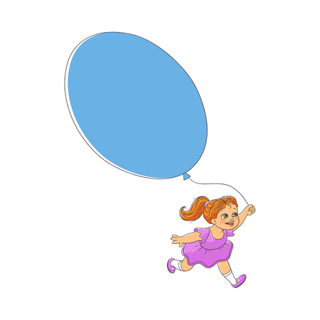 Cute little girl in beautiful dress running with big balloon, hand-drawn vector illustration isolated on white background. Happy girl, child, kid running with balloon, may be used as a place for text