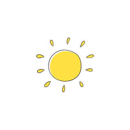 Flat cartoon vector illustration on sun imitating a kid, child drawing isolated on white background. Stylized, simple, na ve hand drawing of yellow sun Illustration