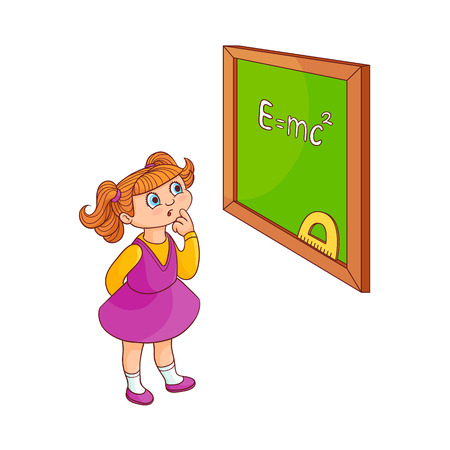 School girl near blackboard isolated on white background - cute little child in dress stands and looks with curiosity at green board with sign. Colorful hand drawn character. Vector illustration. 版權商用圖片 - 98631950