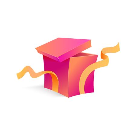 Vector cartoon open present gift box purple bright wrapping elegant ribbon. Birthday anniversary party new year christmas valentine xmas holiday decoration invatation greeting card design illustration Illustration