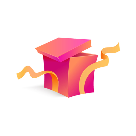 Vector cartoon open present gift box purple bright wrapping elegant ribbon. Birthday anniversary party new year christmas valentine xmas holiday decoration invatation greeting card design illustration Banque d'images - 98631798