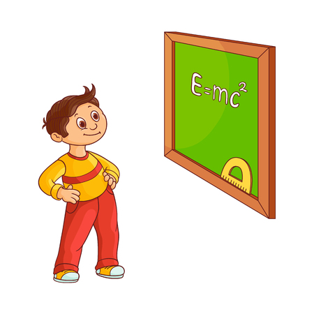 School boy near blackboard isolated on white background. Cute hand drawn cartoon little child with brown hair stands and looks with curiosity at green board with chalk sign. Vector illustration. 版權商用圖片 - 98631949