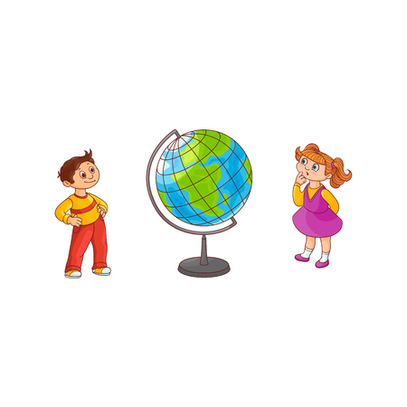 School children with globe sphere map isolated on white background - cute hand drawn cartoon characters of little boy and girl stand and look with curiosity at Earth sphere model. Vector illustration.