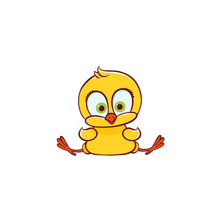 vector flat cute baby chicken yellow small funny character chick sitting. Flat bird animal, isolated illustration on a white background, poultry, farm kids design object.