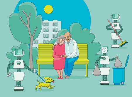 Robots do housework - take garbage out, walk dog, sweep and happy elder couple sit together on a park bench and do nothing, flat cartoon vector illustration. Robots free people from routine housework