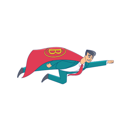 Businessman, man in business suit and red cape with bitcoin, BTC symbol flying as superman, flat cartoon vector illustration isolated on white background. Bitcoin superman, advisor, counsellor concept