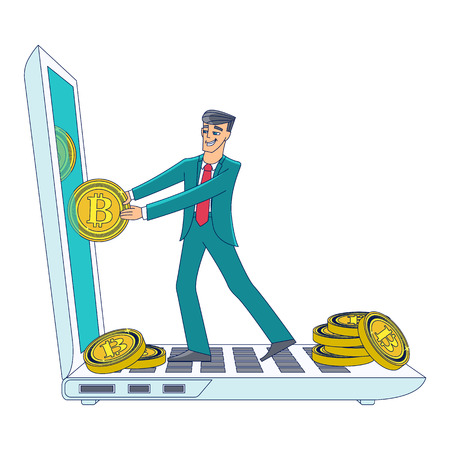 Businessman, man in business suit taking bitcoin coins out of laptop screen, cryptocurrency concept, flat cartoon vector illustration isolated on white background. Businessman, bitcoins and laptop Illustration