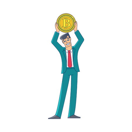 Businessman, man in business suit holding a giant coin with BTC symbol, flat cartoon vector illustration isolated on white background. Full length portrait if businessman standing with giant bitcoin Ilustração
