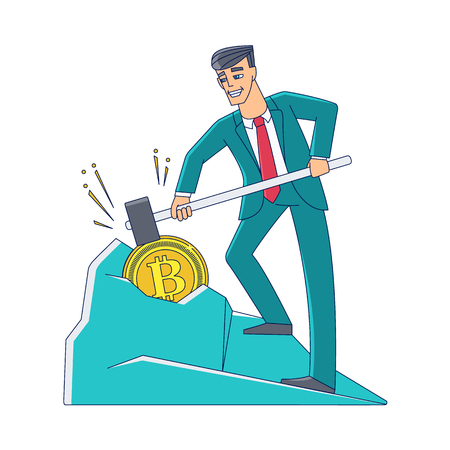 Vector flat bitcoin, mining concept. Male character, happy businessman in suit, smashing ground with hummer mining golden coin. Isolated illustration on a white background