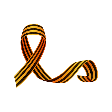 Saint George ribbon, symbol of Russian Victory day, crossed with long curled up tail, realistic vector illustration isolated in white background. Georgian ribbon, symbol of Russian Victory day