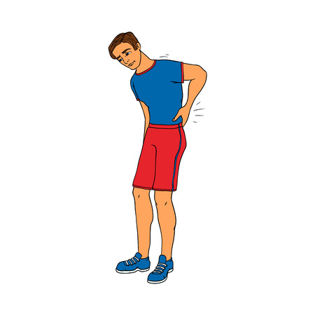 Young man with backache touching his lower back because of pain isolated on white background. Hand drawn cartoon character of guy in sportswear with lumbago symptom. Vector illustration.