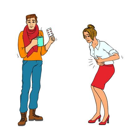 건강 문제가 흰색 배경에-다채로운 손으로 그린 남자와 여자의 감기와 독감 및 위염 증상으로 고립 된 사람들의 아픈 문자 집합입니다. 벡터 일러스트