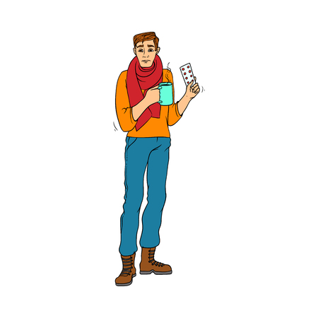 Sick young man drinks hot tea and holds pills in hand due to having cold and flu isolated on white background. Hand drawn colorful guy with scarf around neck holding medicine. Vector illustration. Illustration