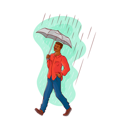 Vector sketch cartoon young african black man walking holding umbrella under rain smiling in shirt, jeans. Happy male character at rainy summer weather isolated illustration white background Illustration