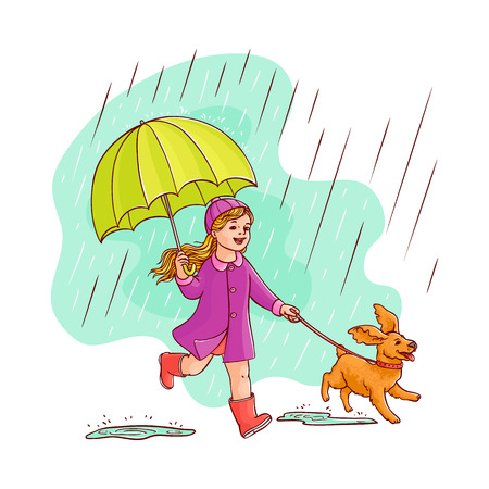 Vector sketch cartoon young girl kid cute child purple coat walking with dog puppy pet holding umbrella under rain smiling. Female character rainy autumn weather Isolated illustration white background
