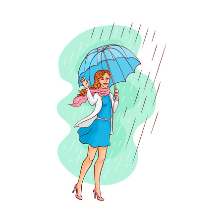 Vector sketch cartoon young woman, cute girl in blue dress coat walking holding umbrella under rain smiling waving hand. Female character at rainy autumn weather Isolated illustration white background Ilustração